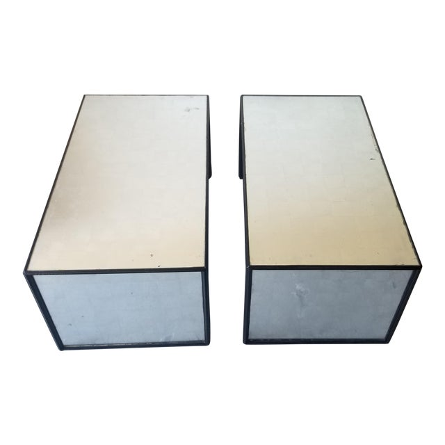 Contemporary Mirrored Waterfall Coffee Table For Sale