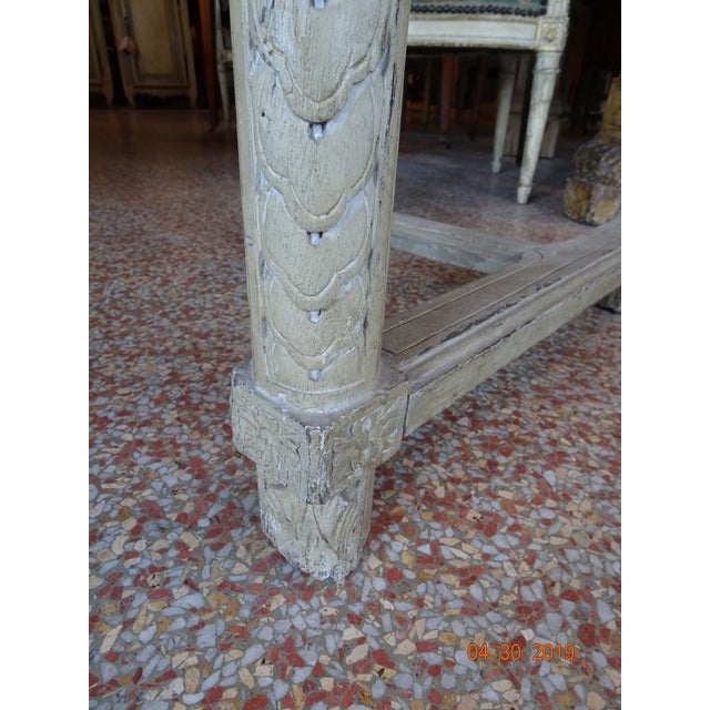 Wood Pair of French Marble Top Consoles For Sale - Image 7 of 11