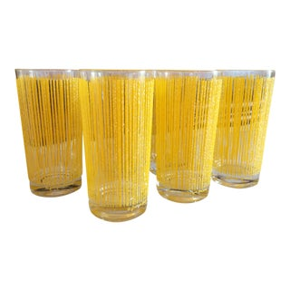 1960s Vintage Georges Briard Icicle Highball Yellow Glasses - Set of 6 For Sale