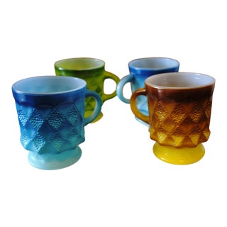 Vintage Fire King Kimberly Mugs Blue Green Yellow Brown - Set of 4 For Sale