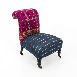 Antique Slipper Chair in Antique Indian Textiles Preview