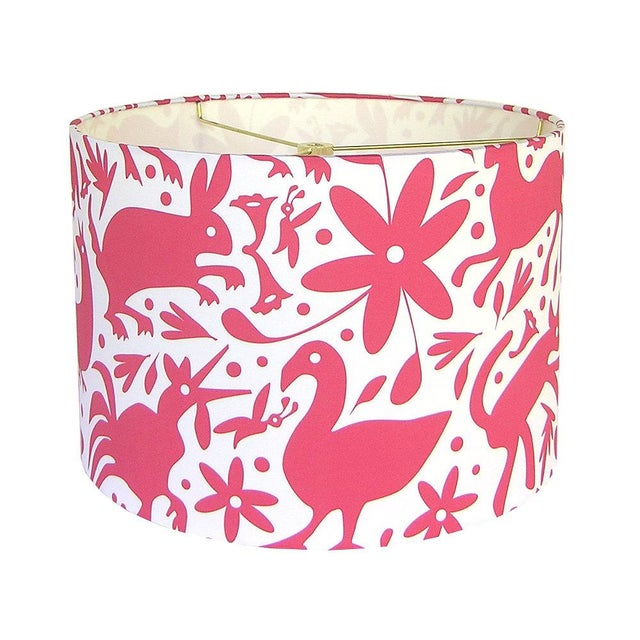 Boho Chic Otomi Style Red Drum Lamp Shade For Sale - Image 3 of 3