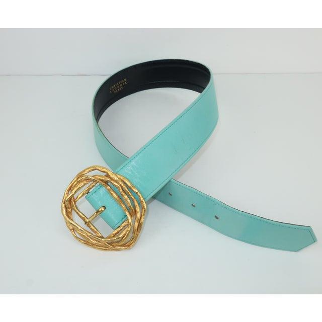 Christian Lacroix Sculptural Gold Tone Buckle & Aqua Leather Belt For Sale In Atlanta - Image 6 of 12