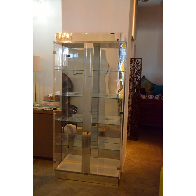 Mid Century Modern Tall Lucite, Glass, Mirror and Chrome Cabinet w/ Lighting - Image 2 of 6