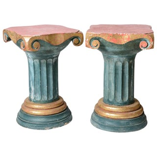 Polychromed Wood Roman Fluted Columns Pillars Pedestal Stools, A-Pair For Sale