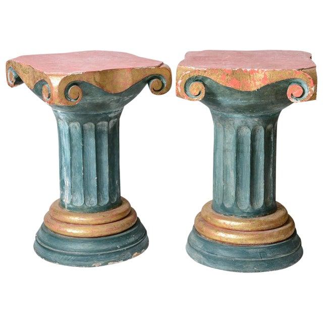 Polychromed Wood Roman Fluted Columns Pillars Pedestal Stools, A-Pair For Sale