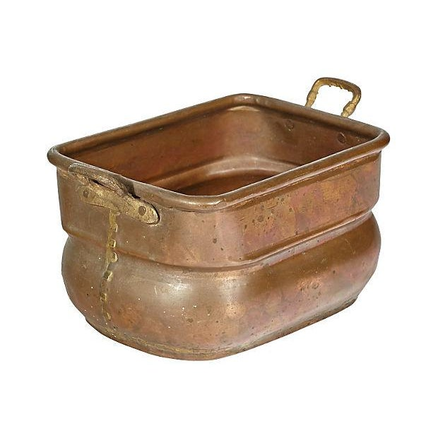 Rectangular hand made copper handled utility bowl or server.