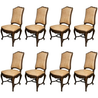 French Louis XV Style Walnut Upholstered Dining Side Chairs - Set of 8 For Sale