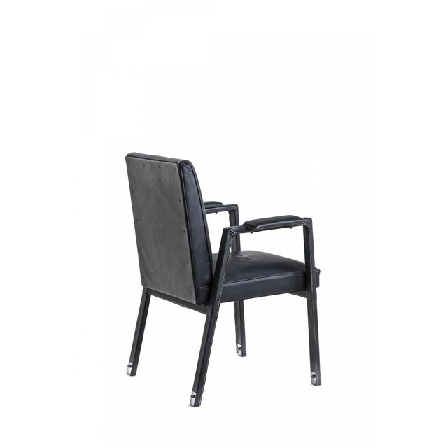 Mid-Century Modern Jacques Adnet Rare Set of 4 Black Hand Stitched Leather Arm Chairs For Sale - Image 3 of 7