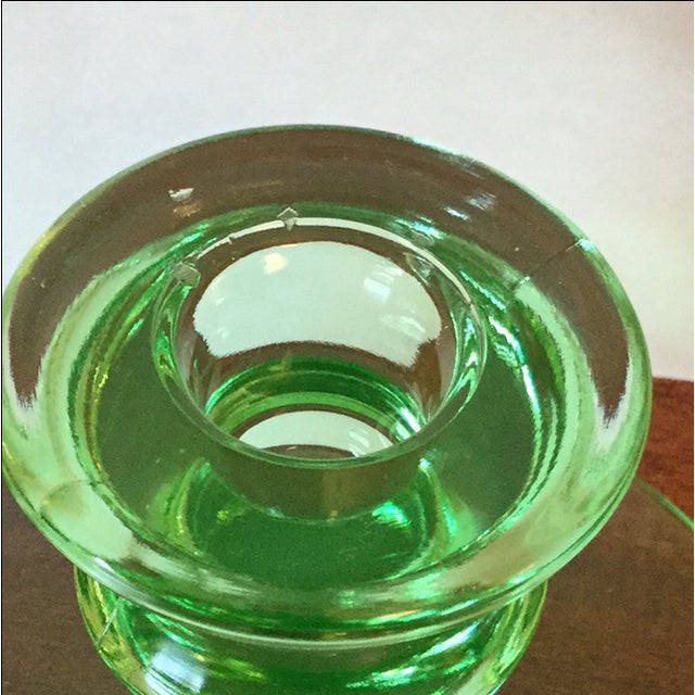 Art Deco Green Uranium Glass Candleholders For Sale In San Francisco - Image 6 of 9