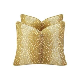 "Wild Animal Antelope Deer Fawn Velvet Feather/Down Pillows 21"" X 18"" - Pair Preview"