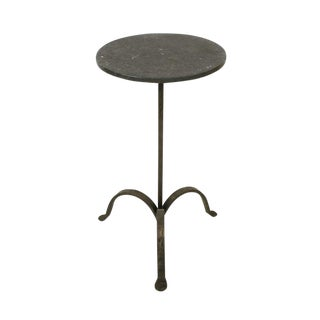 Circular Iron Tripod Drinks Table With Black Marble Top, Bk Limited Edition For Sale