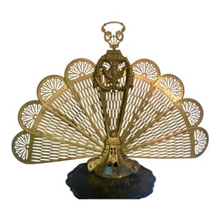 Vintage Brass Peacock Fan Firescreen For Sale