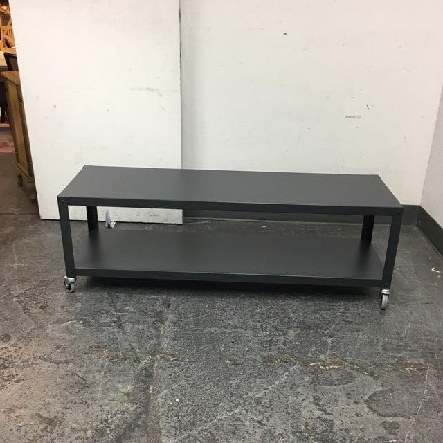 CB GoCart Grey Media Stand Coffee Table Chairish - Cb2 metal coffee table