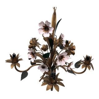 Italian Tole Pink Flowers Chandelier