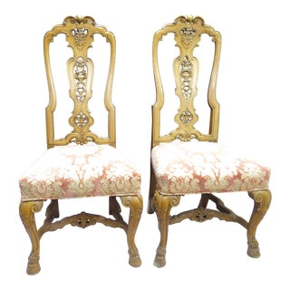 Vintage Rococo Style Carved Wood Sidechairs - a Pair For Sale
