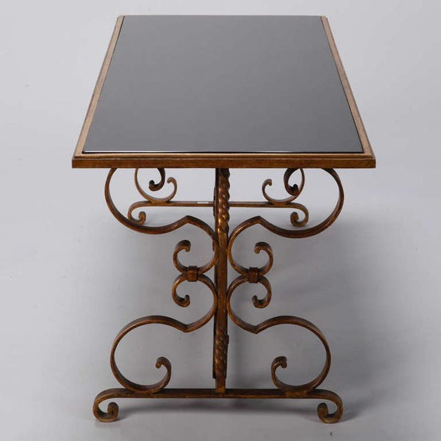 1930s Italian Gilt Iron and Black Glass Cocktail or Coffee Table For Sale - Image 5 of 8