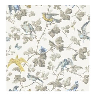 Cole & Son Winter Birds Wallpaper Roll - Yellow & Grey For Sale