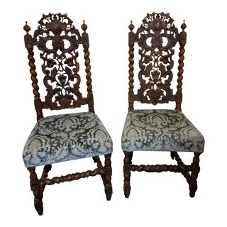 Antique Rococo Style Hall Chairs - a Pair