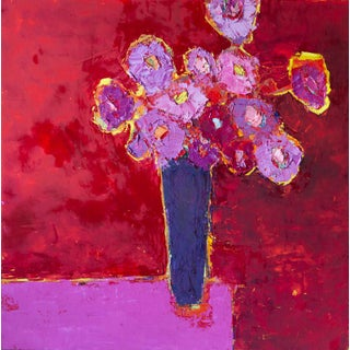 """Bill Tansey """"Red Purple"""" Floral Still Life Oil Painting For Sale"""