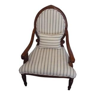 Farmhouse Vintage Oak Ivory Armchair For Sale
