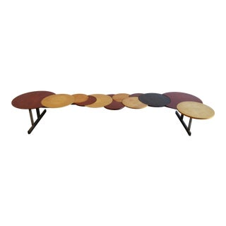 1970s Post-Modern Custom Forged Steel & Round Circular Wood Bench For Sale