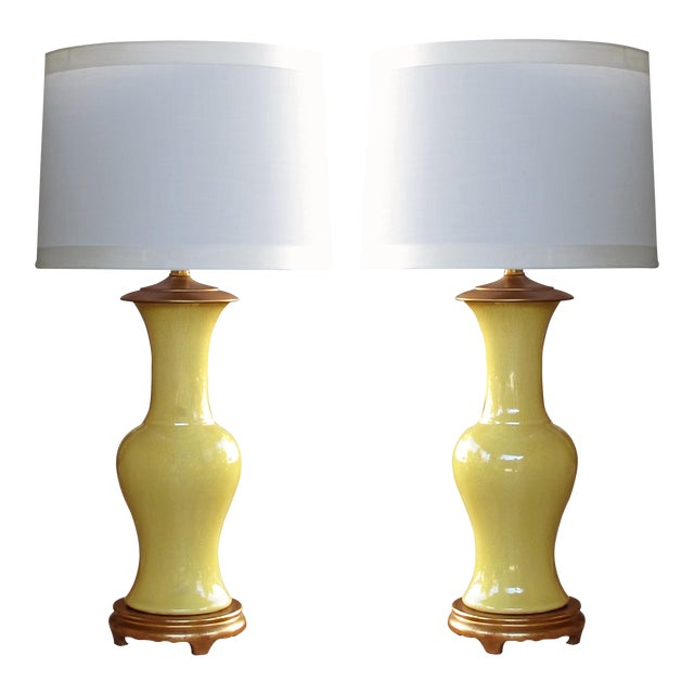 A Vibrant and Shapely Pair of Chinese Baluster-Form Canary-Yellow Crackle-Glaze Porcelain Lamps For Sale