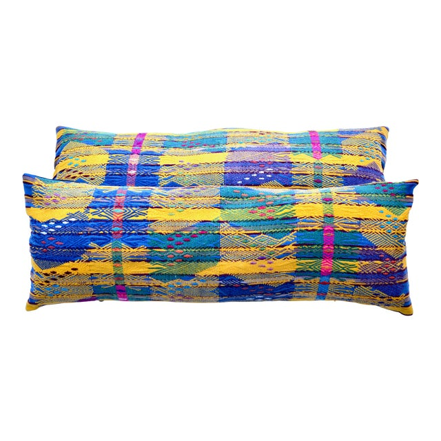 "Hand Embroidered Guatemalan Long Pillow Pair 38"" X 13"" For Sale"