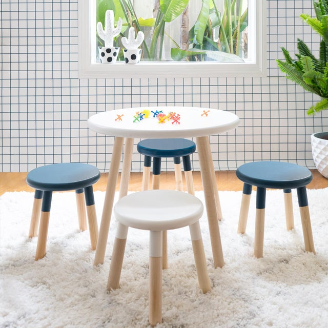 Nico & Yeye Peewee Kids Chair in Maple With Deep Blue Finish For Sale - Image 4 of 5