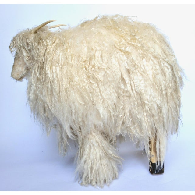 Figurative 1970s Angora Horned Sheep Ottoman in Claude Lalanne Style For Sale - Image 3 of 6