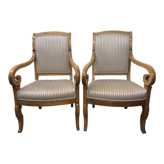 19th Century Biedermeier Walnut Arm Chairs - a Pair For Sale