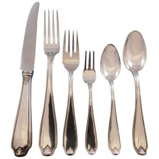 Piedmont by Buccellati Italy Silverplated Flatware Set Service 24 Pcs Dinner For Sale