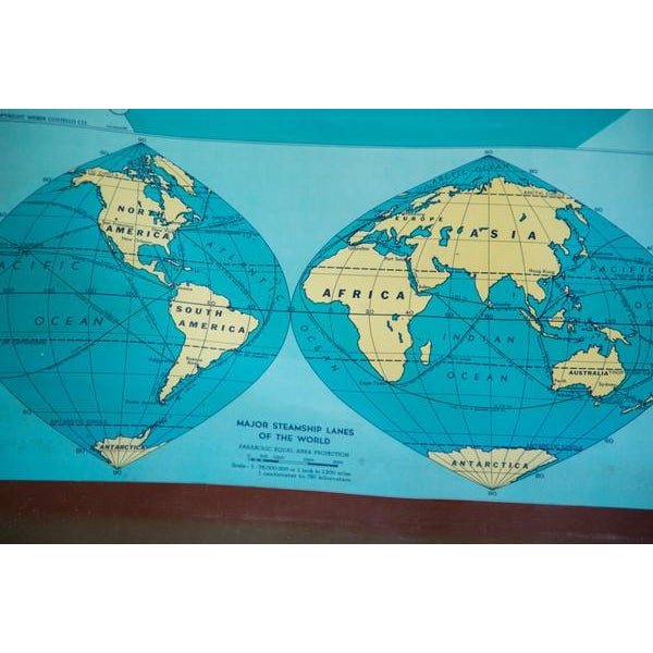 Vintage 60s Costello Pull Down Map of World - Image 5 of 9