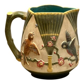 Majolica Pitcher With Birds, England Circa 19th Century For Sale