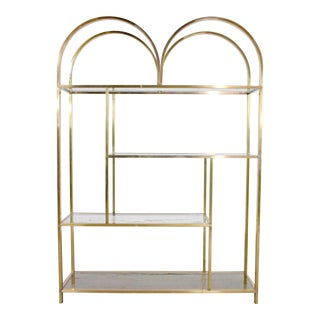 Vintage Modern Double Arched Etagere Display Shelves Brass Plated and Glass For Sale