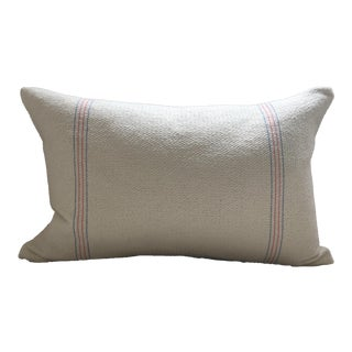 """Vintage French Red and Blue Stripe Linen Pillow Cover - 10"""" X 18"""" For Sale"""