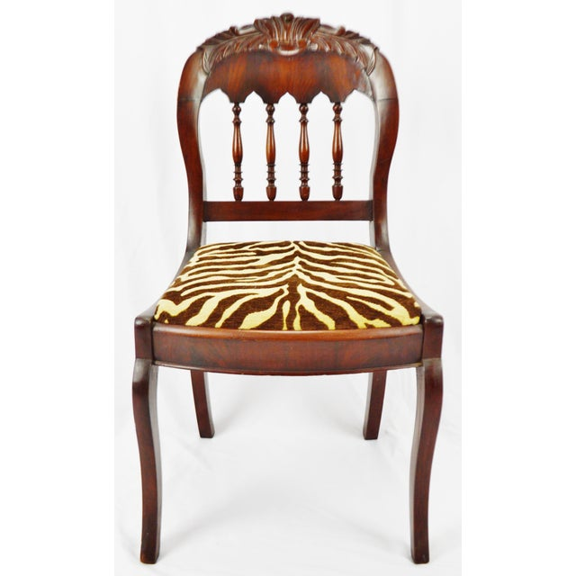 Vintage Victorian Style Side Chair with Animal Print Cushion Condition consistent with age and history. Crack/separation...