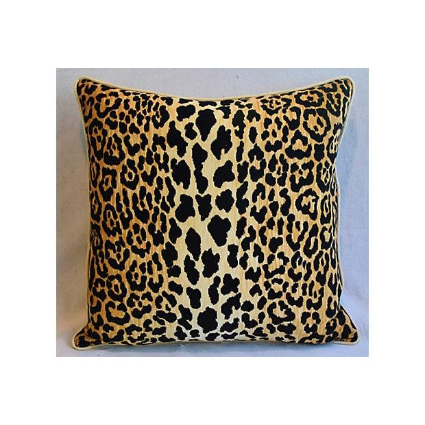 "Boho Chic 26"" Custom Tailored Leopard Spot Safari Velvet Feather/Down Pillows - a Pair For Sale - Image 3 of 11"