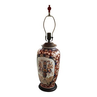 Antique Large Imari Vase Table Lamp Lighting Rewired Japan Red Blue Oriental For Sale