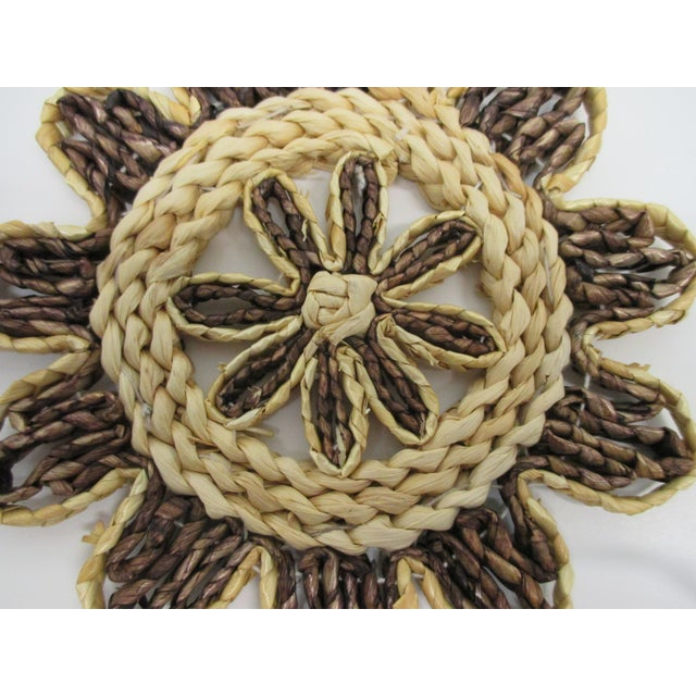 Textile Vintage Set of Four (4) Small Woven Abaca Round Trivets in Natural Fiber For Sale - Image 7 of 8