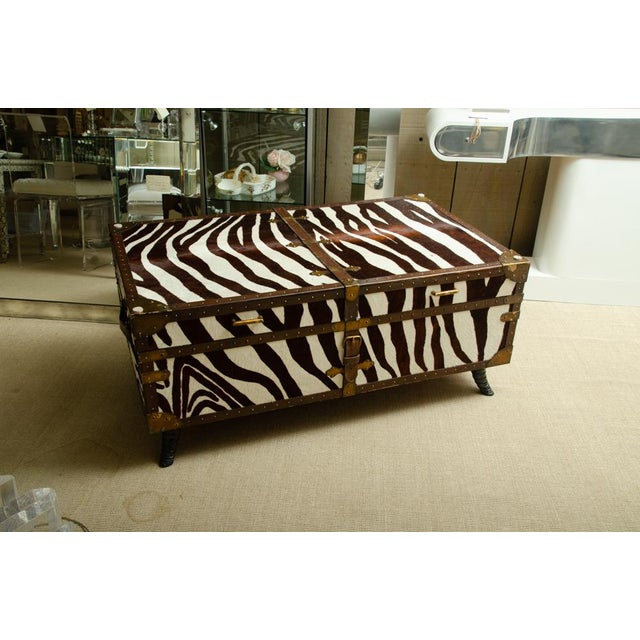 French Trunk/Cocktail Table Covered in Zebra For Sale - Image 11 of 11