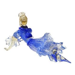 Seguso Vetri d'Arte Murano Blue Stripes Dress Gold Leaf Italian Art Glass Ballerina Figure For Sale