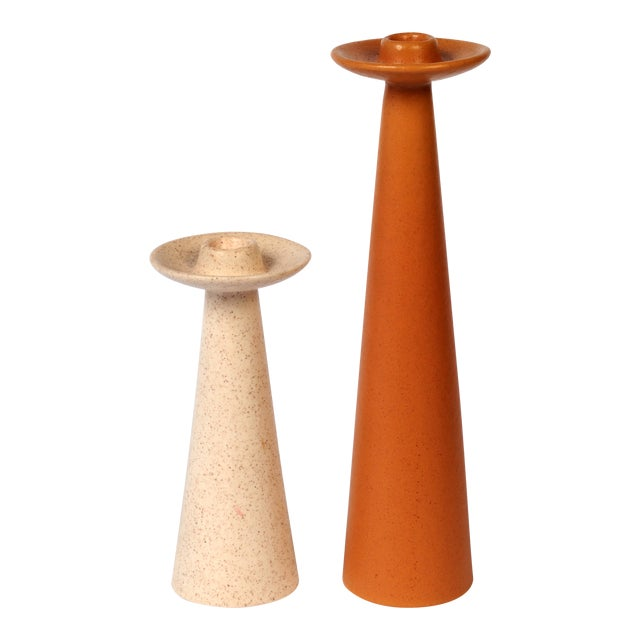Mid-Century Rust and Cream Ceramic Candlesticks - a Pair For Sale