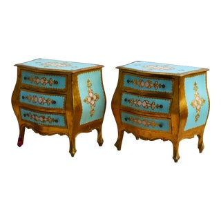 1960s Italian Florentine Bombay Chest Nightstands - a Pair For Sale
