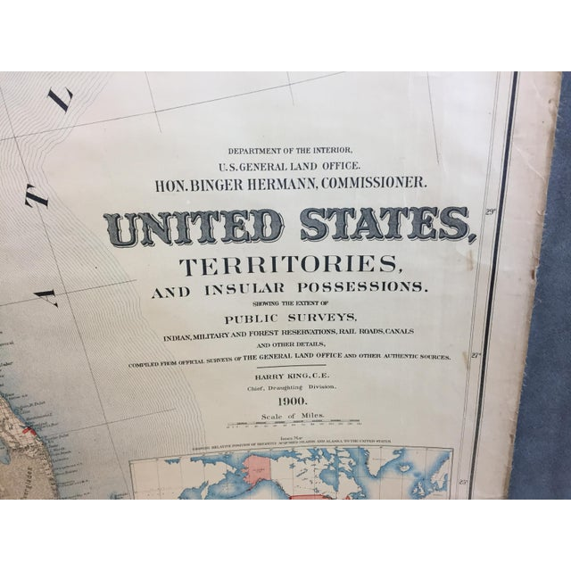 1900 Antique Department of the Interior USA & Territories Wall Map For Sale - Image 11 of 11