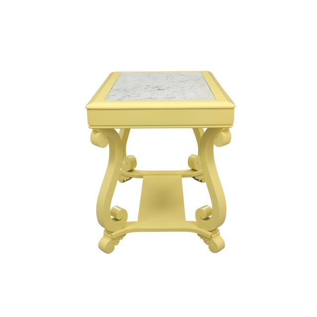 Modern Neoclassical Style Yellow Marble Top Hall Table For Sale - Image 3 of 10