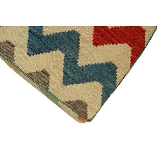 Arshs Corrine Ivory/Rust Kilim Upholstered Handmade Ottoman For Sale In New York - Image 6 of 8