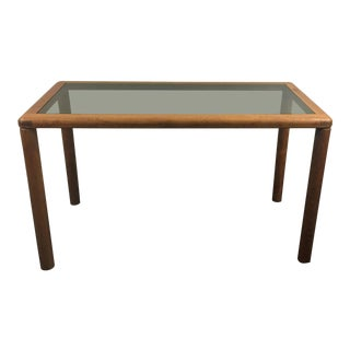 Mid 20th Century Vintage Haslev Danish Modern Teak and Smoked Glass Console Table For Sale