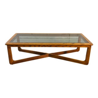 Vintage Lane Furniture Oak Wood & Smoked Glass Coffee Table For Sale