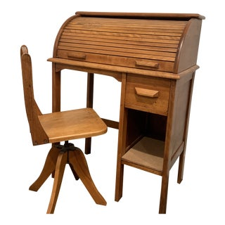 1920s Mid-Century Modern Child's Rolltop Desk For Sale